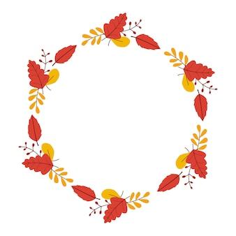 Background autumn leaves wreath
