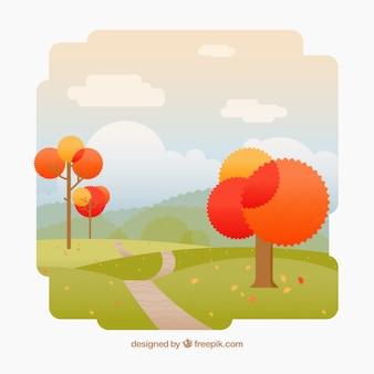 Sfondo di alberi di autunno in un parco