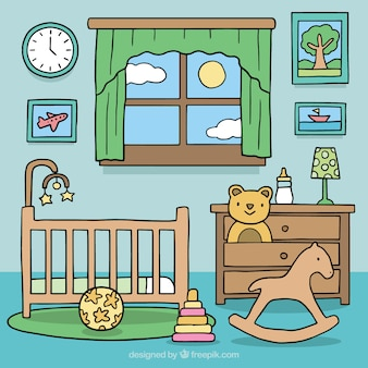 Background of baby room with wooden furniture