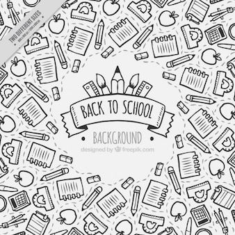 Background for back to school, hand drawn