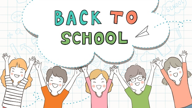 Background for back to school with happy student