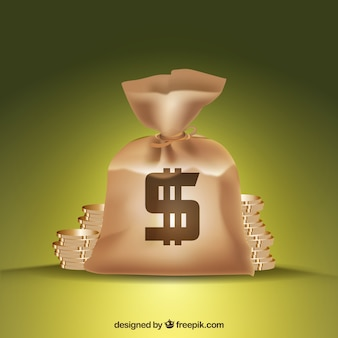 Background of bag with dollar symbol and coins