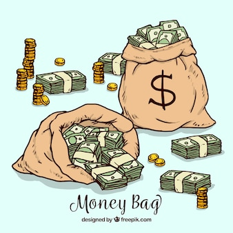 Background of bags with banknotes and coins