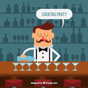 Background of barman serving cocktails