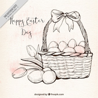 Background of basket and easter eggs in vintage style