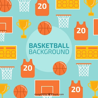Background of basketball elements in flat design