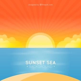 Background of beautiful beach at sunset
