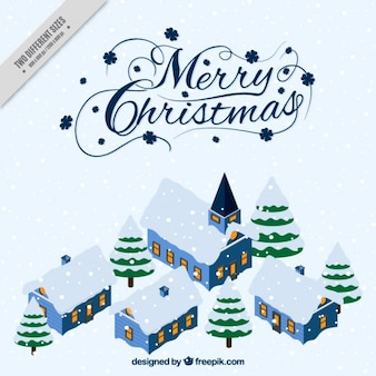 Background of beautiful christmas snowy village