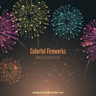 Background of beautiful colored fireworks