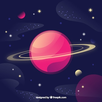 Background of beautiful planet and stars