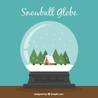 Background of beautiful snowball with house and trees