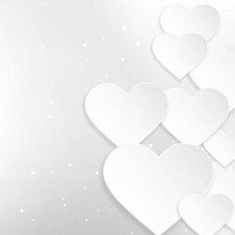 Background of beautiful white hearts