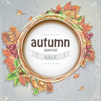 Background for big autumn sale with the image of autumn leaves, acorns, chestnuts and berries of viburnum