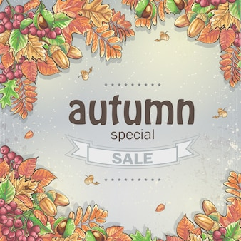 Background of a big autumn sale with the image of autumn leaves, chestnuts, acorns and berries of viburnum