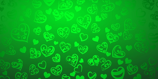 Background of big and small hearts with ornament of curls, in green colors
