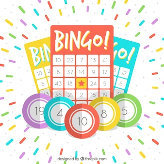 Background of bingo ballots with colorful stripes