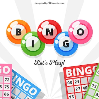 Background of bingo balls and ballot papers