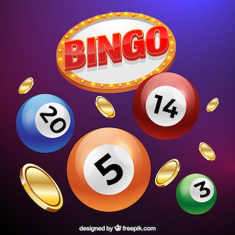 Background of bingo balls with coins