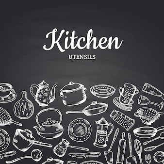 Background on black chalkboard illustration with kitchen utensils and place for text. banner or vintage poster for restaurant