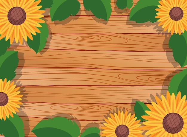 Background of blank wooden table with leaves and sunflower elements