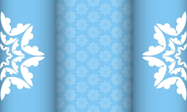 Background of blue color with mandala white ornament for design under your logo or text