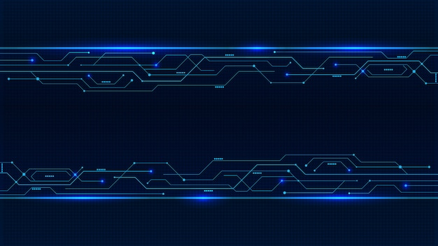 Background blue glowing neon circuit board lines