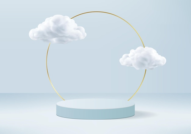Background   blue rendering with podium and minimal cloud scene, minimal product display background  rendered geometric shape sky cloud blue pastel. stage render product in platform
