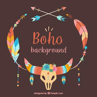 Background of boho ornamental elements