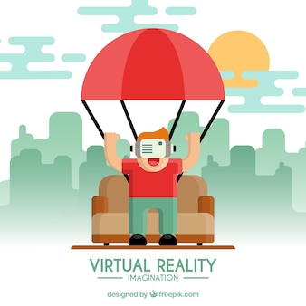 Background of boy playing with virtual reality glasses in flat design