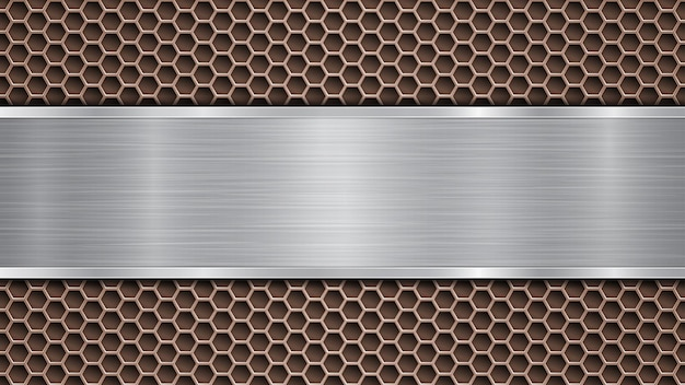 Background of bronze perforated metallic surface with holes and horizontal silver polished plate