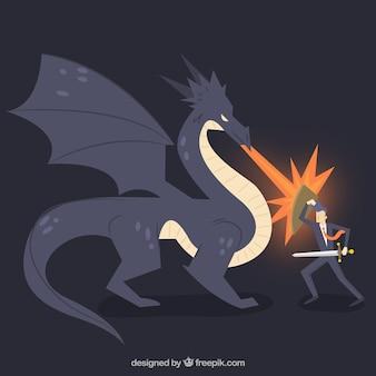 Sfondo di carattere aziendale combattendo con drago