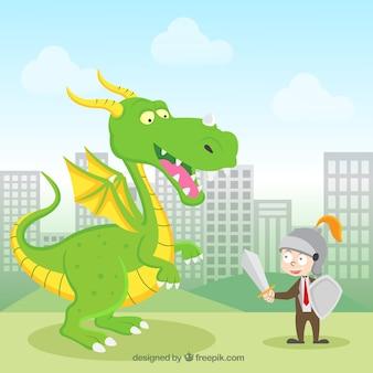 Sfondo di carattere aziendale combattendo con un drago