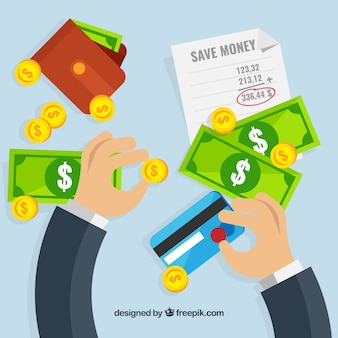 Background of businessman with banknotes and credit card