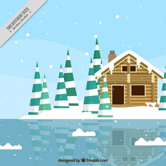 Background of cabin in front of a frozen lake