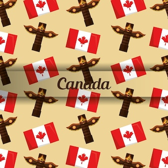 Background canadian totem and flag insignia