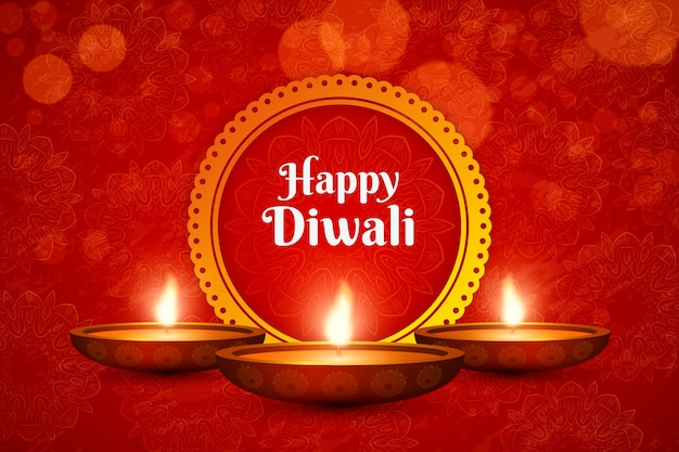 Background of candles for diwali Premium Vector