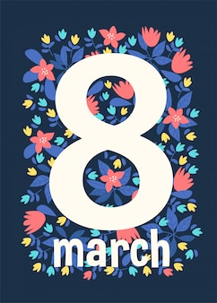 Background cards greeting with women's day 8 march.