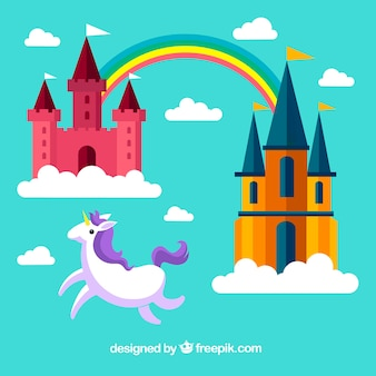 Background of castles in flat design with rainbow and unicorn