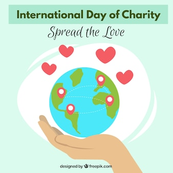 Background of charity day world full of love