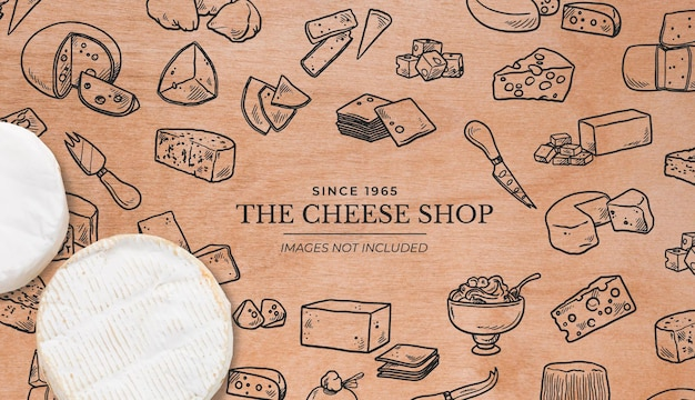 Background for cheese shop with wooden surface