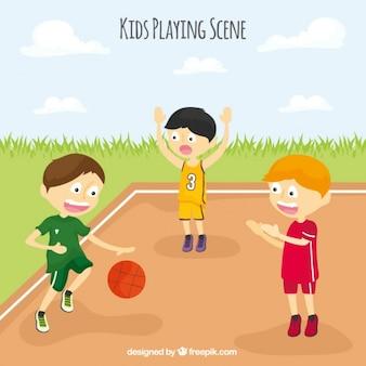 Sfondo di bambini che giocano a basket
