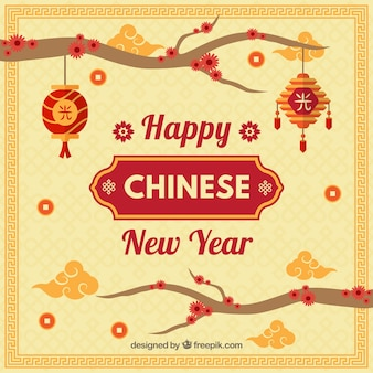 Background for chinese new year with branches