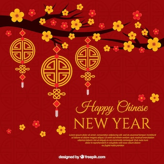 Background for chinese new year with flowers