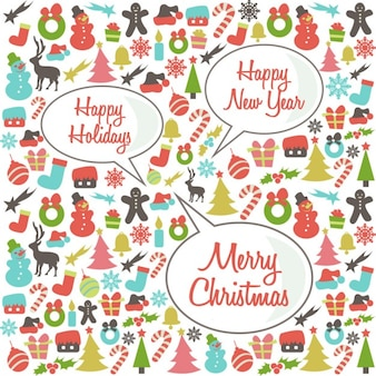 Background of christmas elements with speech bubble