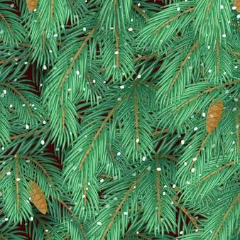 Background of christmas tree branches and snowfall.