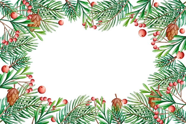 Background christmas tree branches watercolor