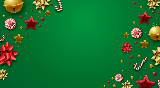 Background christmas with realistic decoration