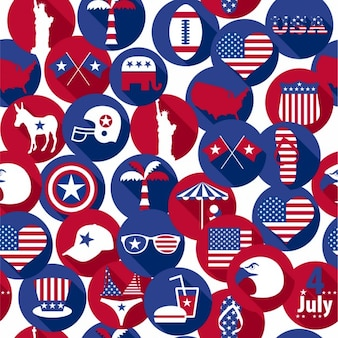 Background of circles with american elements