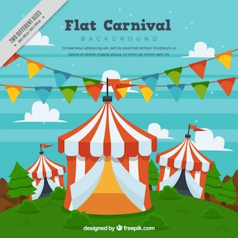 Background of circus tents with garlands