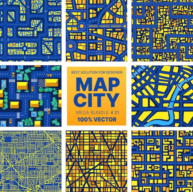 Background city map set pattern urban streets, houses and buildings